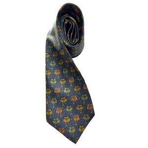 🇮🇹 Salvatore Ferragamo Silk Fishing Basket Tie